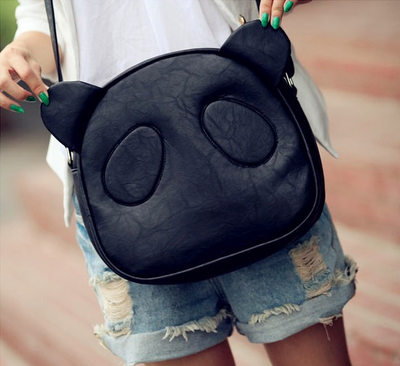 Women Lovely Panda Ear Shoulder Bag Purse Tote Black F2186-01
