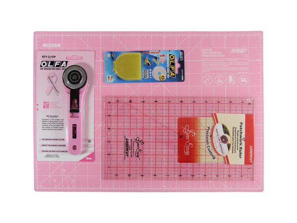 OLFA Pink Rotary Cutter 45mm Blade Patchwork Ruler Self ...