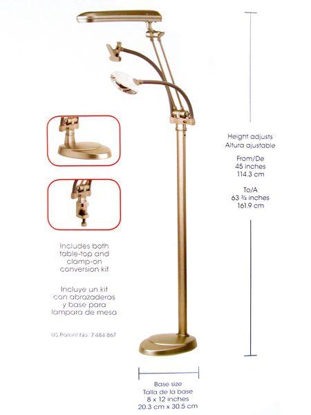 Ott lite natural daylight 3 in 1 ottlite floor lamp desk for Ottlite 3 in 1 craft floor lamp