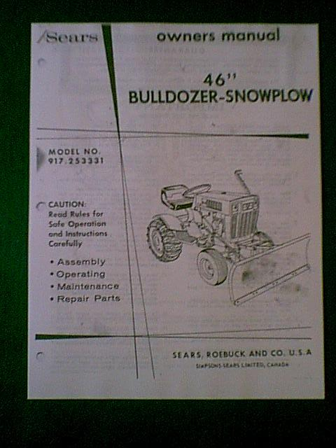 CRAFTSMAN 46 SNOW PLOW MODEL OWNERS WITH PARTS