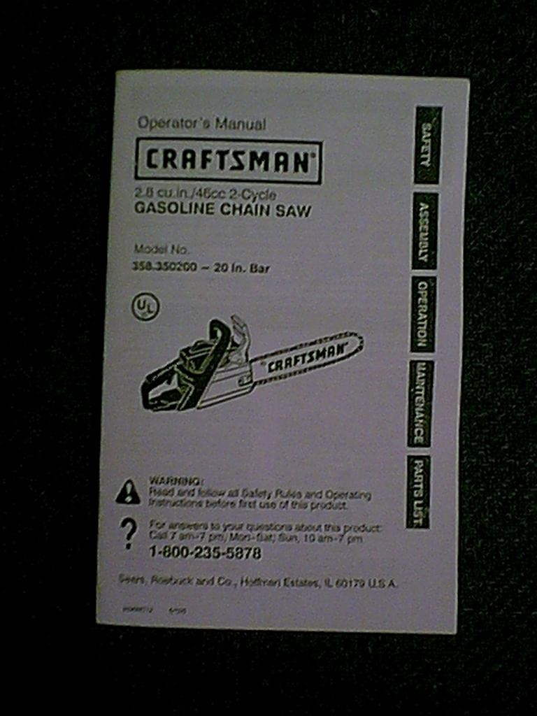 craftsman chainsaw owners manual
