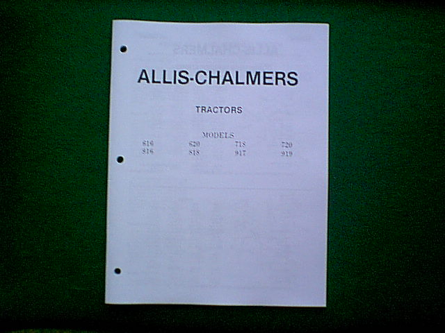 Allis Chalmers 616 Thru 919 Tractor Service Manual
