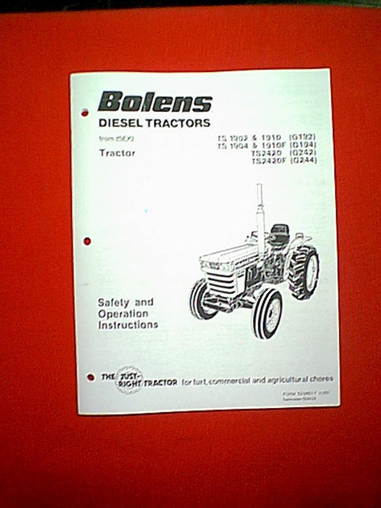 BOLENS ISEKI DIESEL    TRACTOR    G192 G194 G242 G244 OWNER S MANUAL