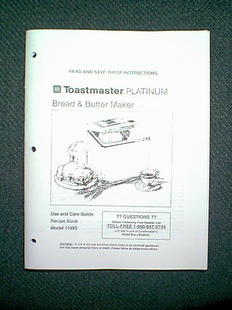 toastmaster bread machine manuals