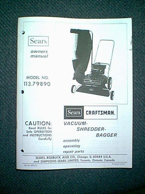 Sears Shredder Bagger : Sears craftsman vacuum shredder bagger leaf blower