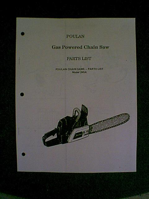 POULAN CHAIN SAW 245A PARTS MANUAL