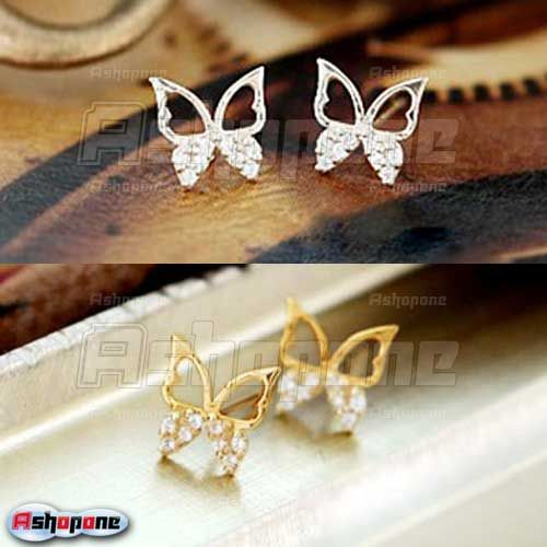 Korean-Fashion-Lovely-Cute-Crystal-Rhinestone-Butterfly-Stud-Earrings-2-Colors