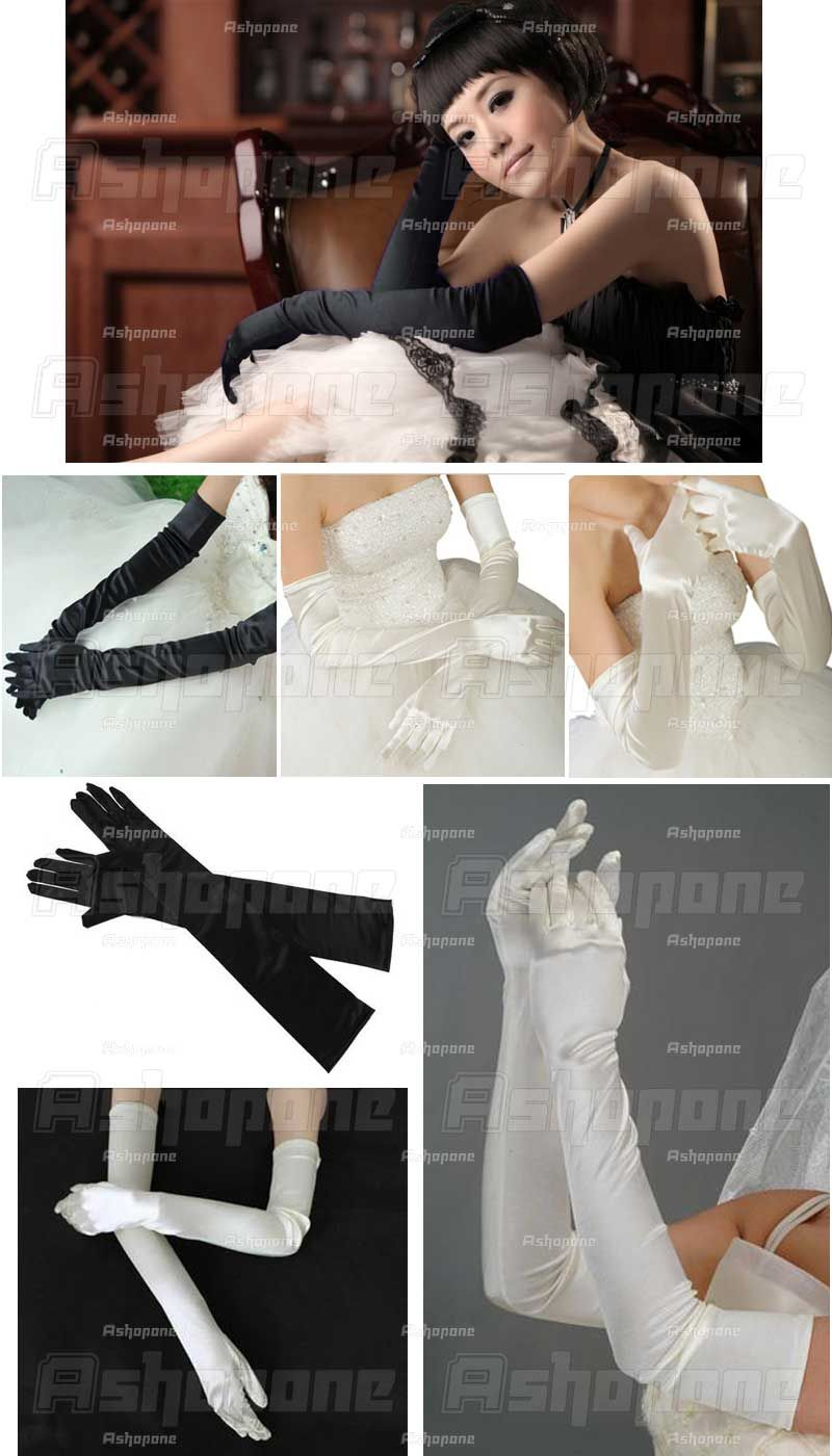 Satin Party Fancy Dress Prom Evening Wedding Bridal long Finger Gloves