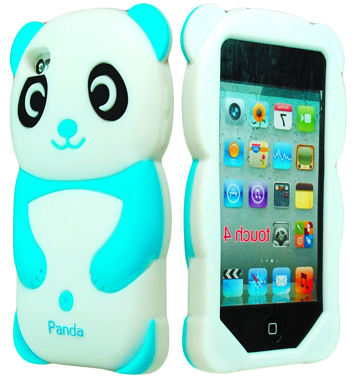 cute 3d animal sky blue panda silicone case for ipod touch. Black Bedroom Furniture Sets. Home Design Ideas