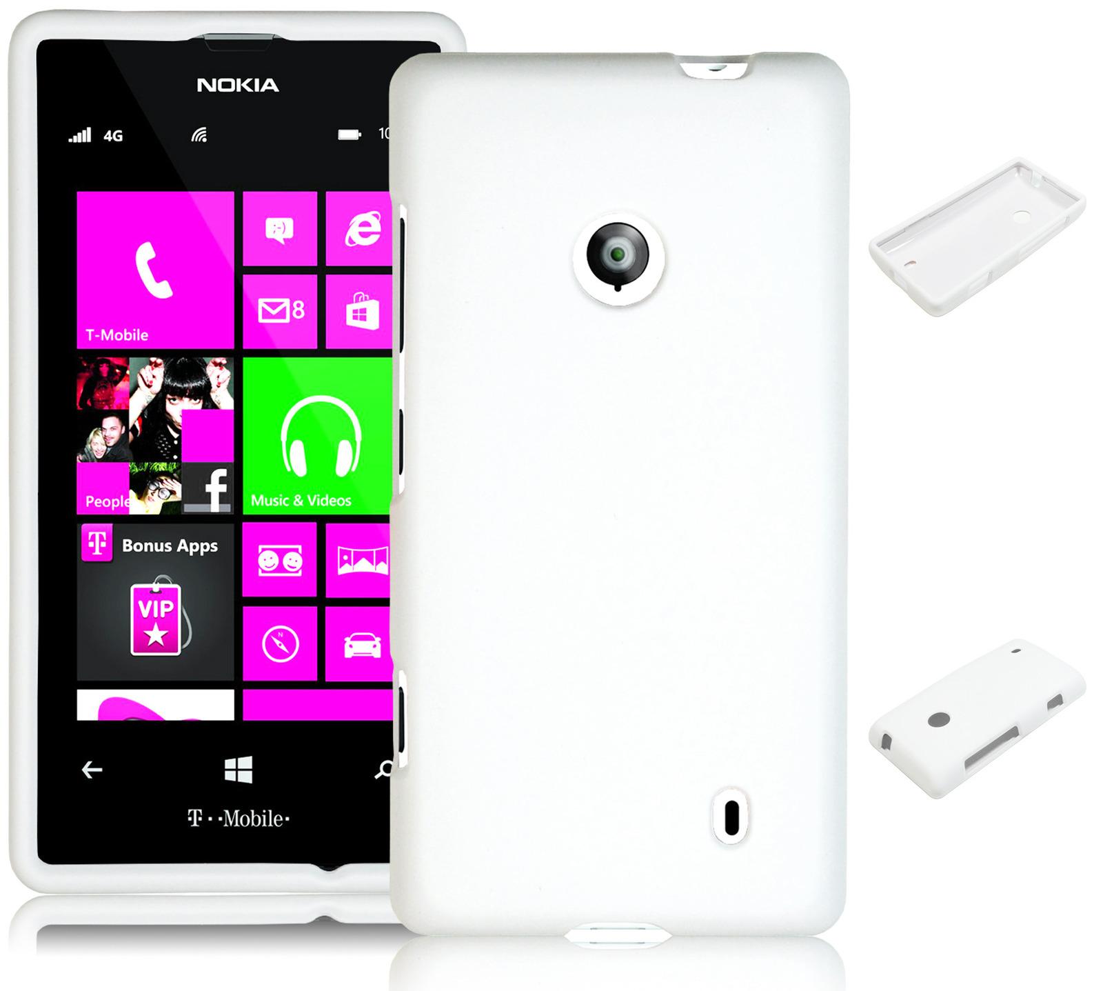 For Nokia Lumia 521 White Rubberized Hard Snap On Case   CoverNokia Lumia 521 White
