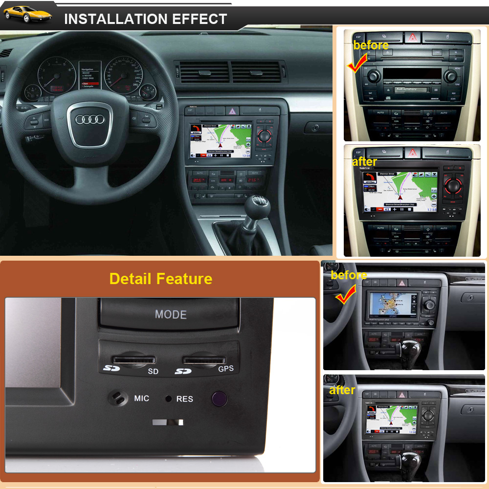auto dvd gps navigation satnav stereo radio for 2002 2008 audi a4 b6 b7 s4 rs4 ebay. Black Bedroom Furniture Sets. Home Design Ideas