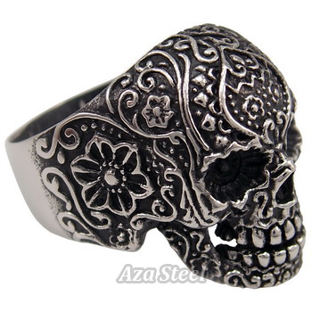 Men's Gothic Skull Flower Biker Stainless Steel Ring US Size 10, 11, 12, 13, 14 in Jewelry & Watches, Fashion Jewelry, Rings | eBay