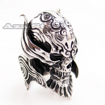 Men's Silver Devil Skull Demon Biker Stainless Steel Ring Size 9, 10, 11, 12, 13 in Jewelry & Watches, Fashion Jewelry, Rings | eBay