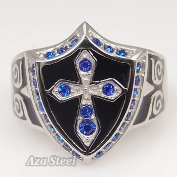 Men's Silver Sapphire Crystal Cross Noble Knight Stainless Steel Ring Size 8-13 in Jewelry & Watches, Fashion Jewelry, Rings | eBay