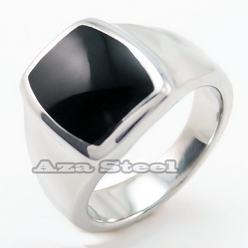 Men's Women's Silver Elegant Black Enamel Stainless Steel Ring Size 6-12 in Jewelry & Watches, Fashion Jewelry, Rings | eBay
