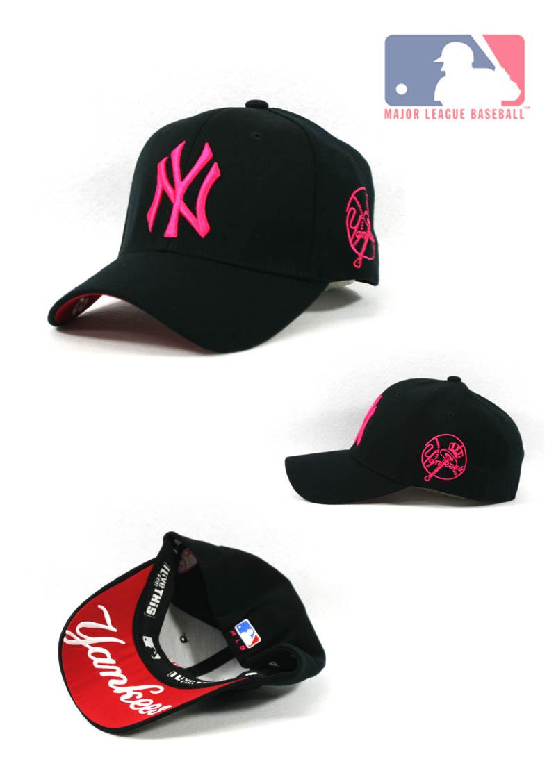 Pink Yankees Logo Mlb logo on the rear sidePink Yankees Logo