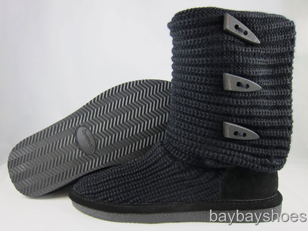 "BEARPAW KNIT TALL 14"" BOOT BLACK FOLDABLE FABRIC SHEEPSKIN US WOMENS ..."