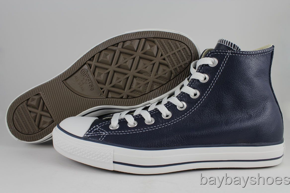 converse all star leather hi high chuck taylor navy blue