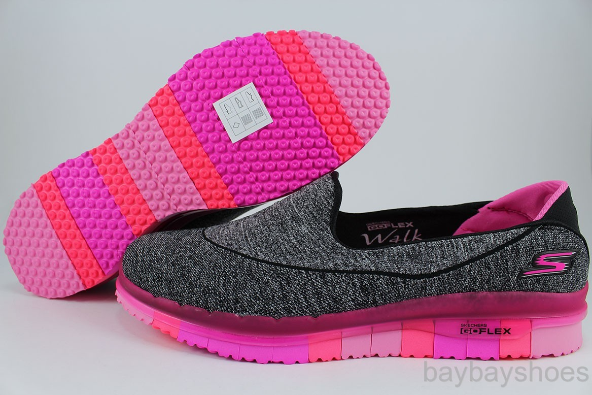 skechers go flex walk black white hot pink goga mat slip on loafers women sizes ebay. Black Bedroom Furniture Sets. Home Design Ideas