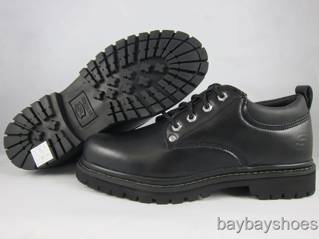 Skechers Alley Cats Leather Black Oxford Dress Boot Lug Sole Mens All