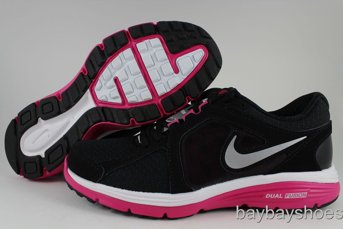 Details about NIKE DUAL FUSION RUN BLACK/SILVER/F IREBERRY HOT PINK