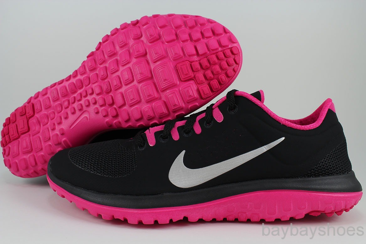 Details about NIKE FS LITE RUN BLACK/SILVER/V IVID PINK RUNNING FREE ...