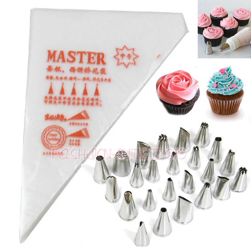Cake Decorating Metal Tips : 24X Icing Piping Nozzles Disposable Bag Cookies Tips Cake ...