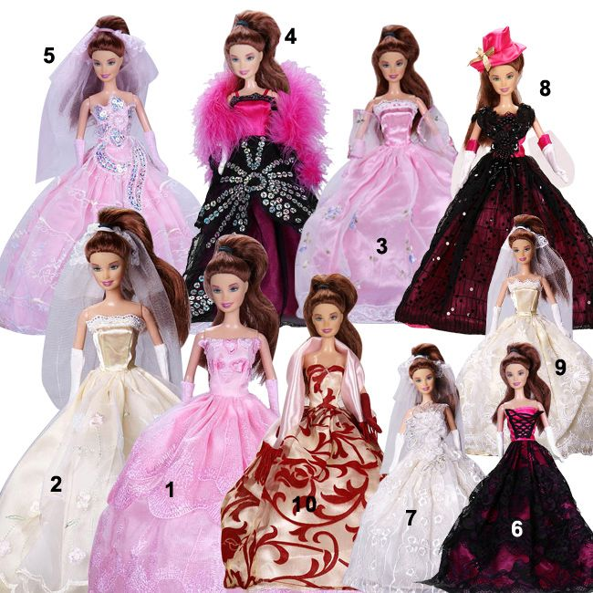 10-New-Vintage-barbie-wedding-evening-prom-party-dress-clothes-for-barbie-dolls