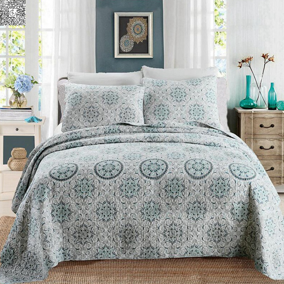 Mandala Patchwork Cotton Bedspread Quilted Throw Rug Coverlet Set Queen King
