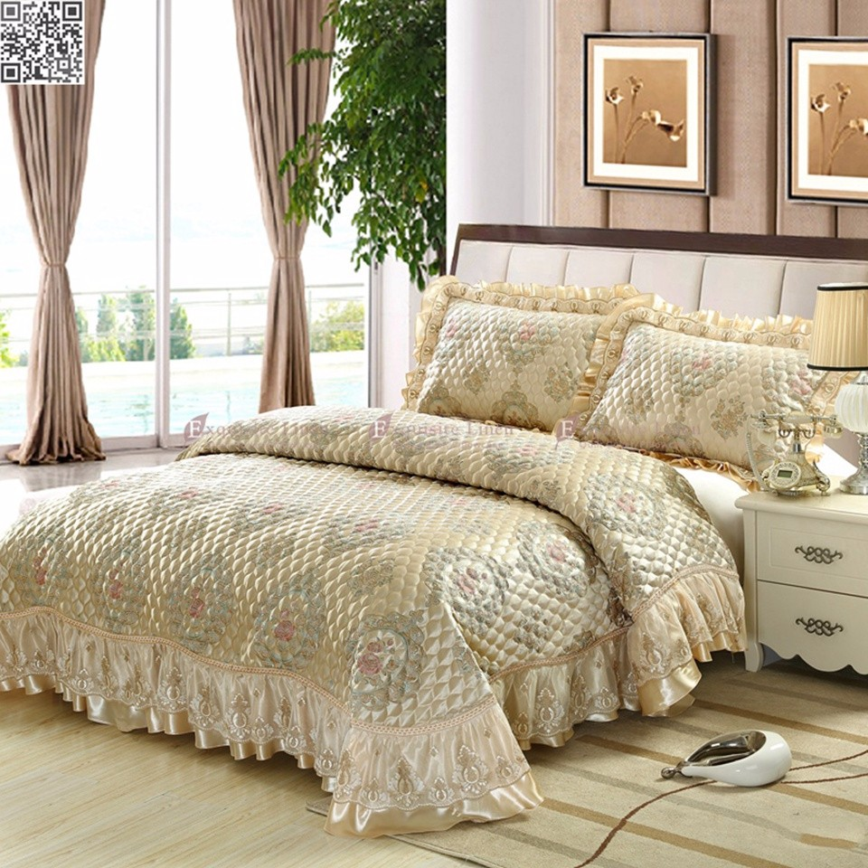 Embroider Lace Queen King Bed Size Jacquard Quilted