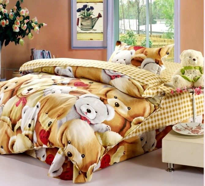 teddy bears single size bed quilt cover duvet cover. Black Bedroom Furniture Sets. Home Design Ideas
