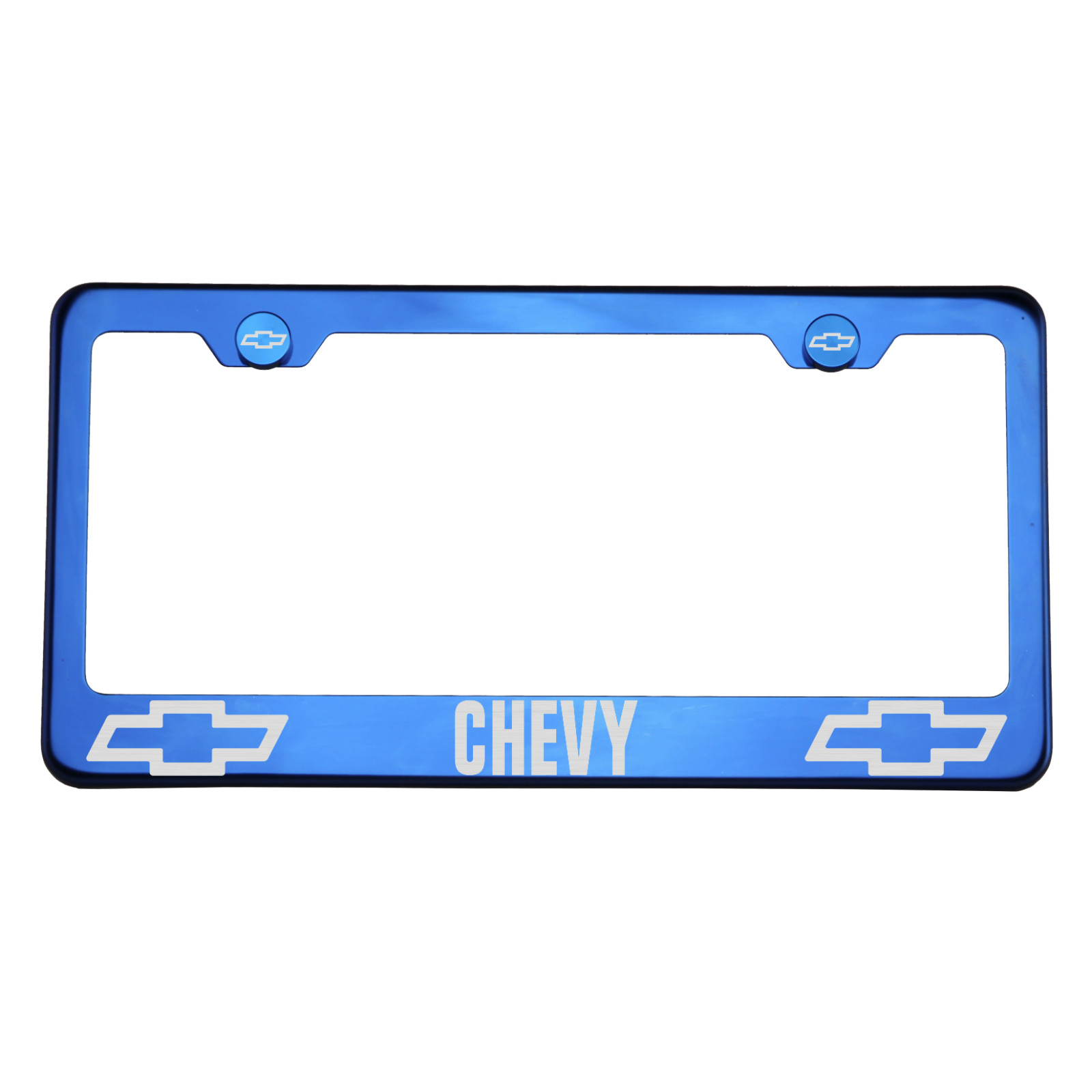 T304 Blue Chrome License Plate Frame Stainless Steel Silver Chevy ...