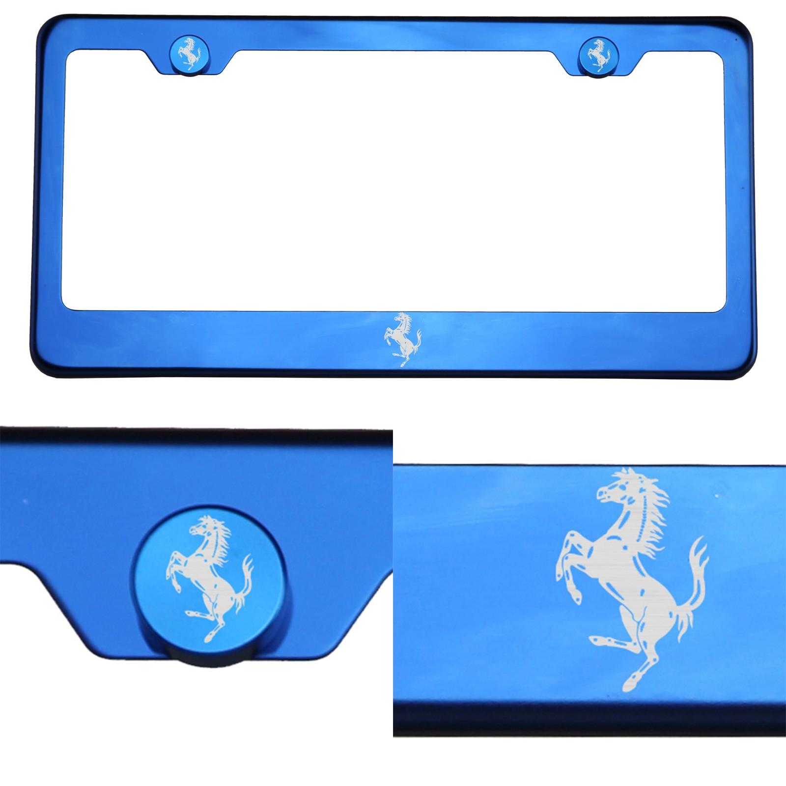Blue Chrome License Plate Frame T304 Stainless Steel Laser Engraved ...