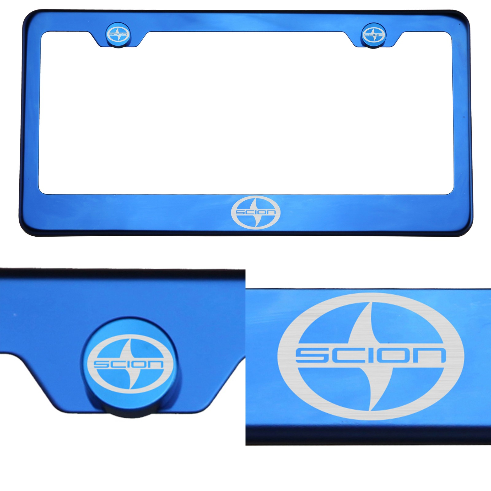 for scion chrome license plate frame stainless steel miorro finish laser engrave