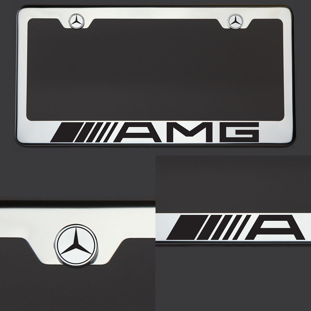 Image Is Loading Chrome License Plate Frame AMG Mercedes Benz Black