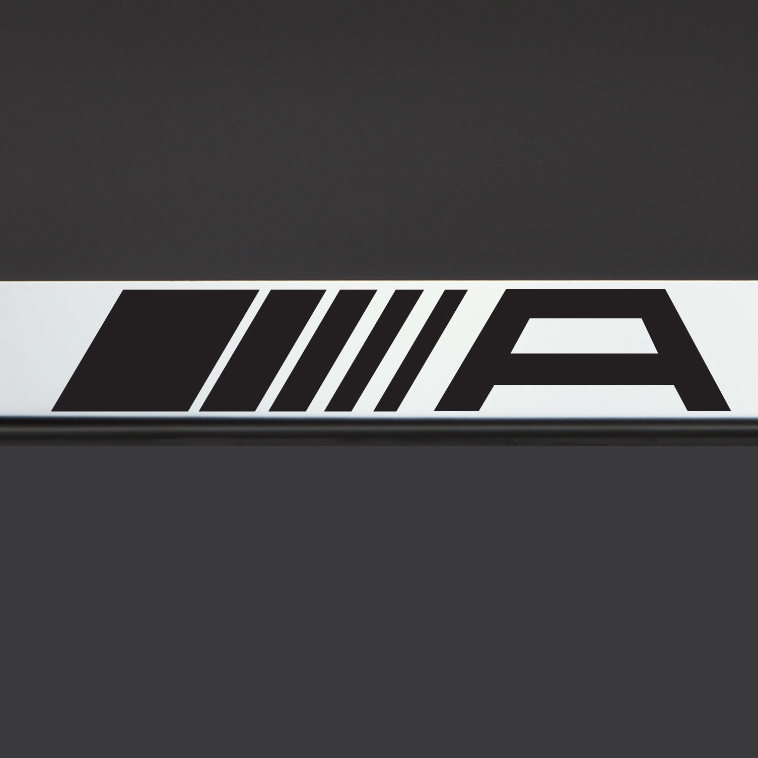 Chrome license plate frame amg mercedes benz black letter for Mercedes benz license plate logo