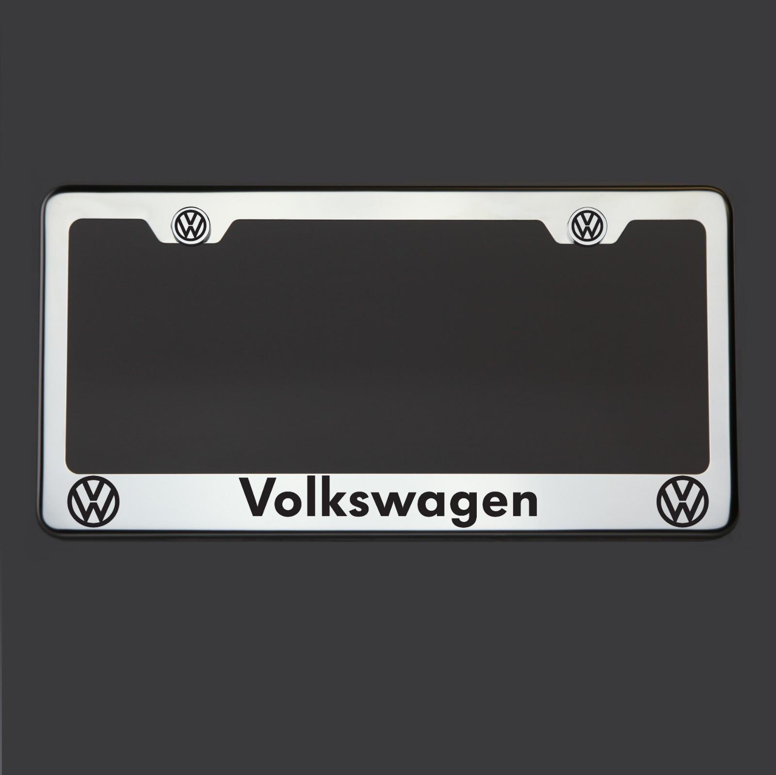 Espejo polaco Acero Inoxidable Volkswagen Negro Láser Grabado Marco ...