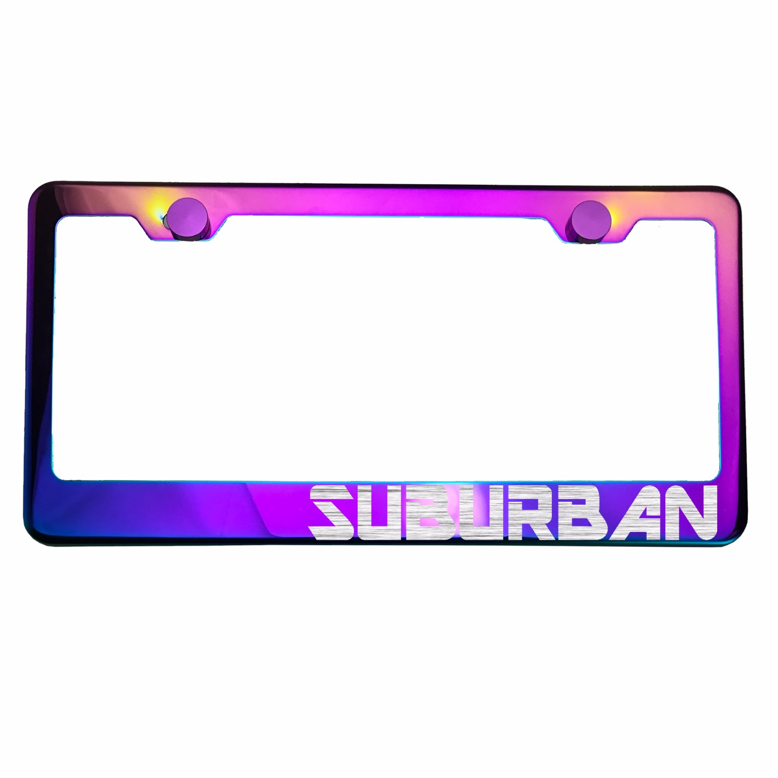 Neo Neon Chrome License Plate Frame MALIBU Laser Etched Metal Screw Cap