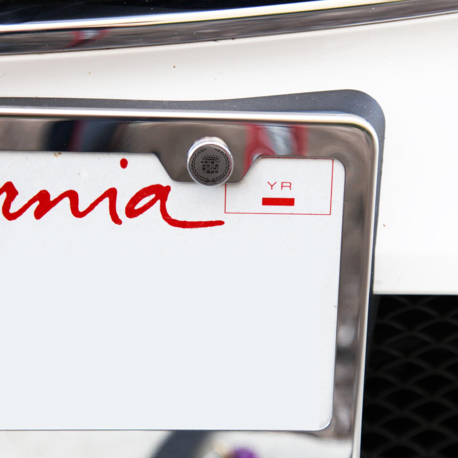 Laser Etched Black Cadillac License Plate Frame Bolts Fastener Chrome Screws Cap
