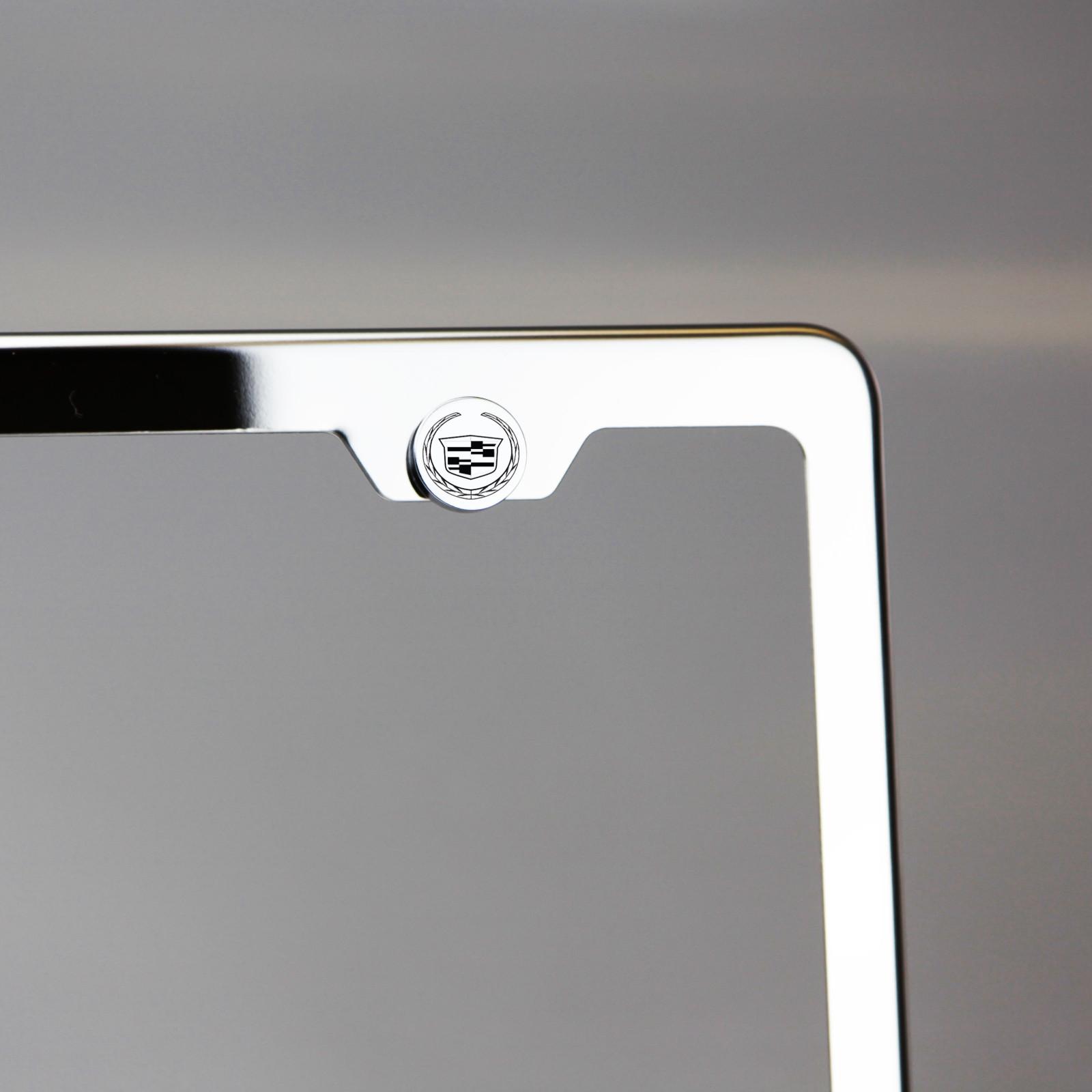 Laser Etched Black New Cadillac License Plate Frame Fastener Chrome Screws Cap