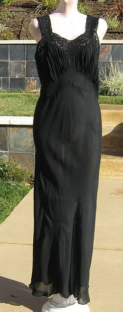 Vintage 40s Black Bias Cut Silk Cutwork Lace Nightgown