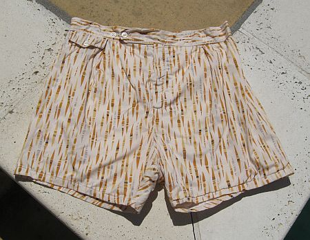 Vintage 50s Ethnic Novelty Print Cotton Swim Trunks