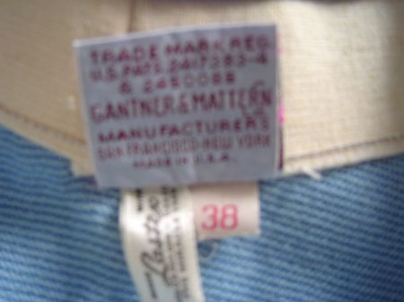 Back of 1940's Gantner label
