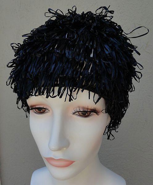 Vintage Black Raffia Tiered Fringe Cap