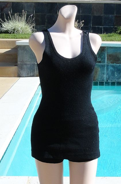 Vintage late 20s early 30s UNISEX Black Wool Swimsuit