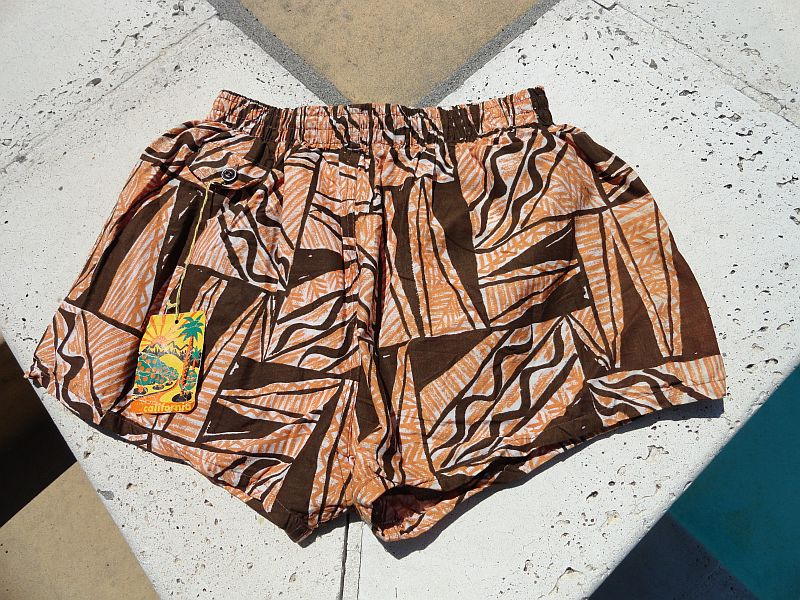 NEW Vintage 60s Brown Tapas Print Swim Trunks