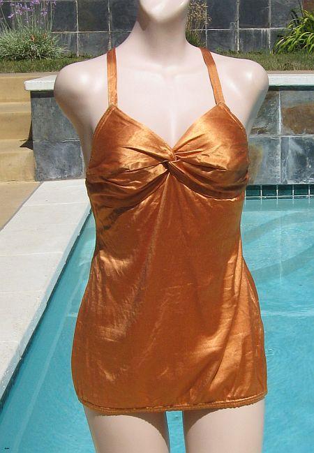 Vintage 40's Copper Satin Twist Bust Swimsuit Bathing Suit