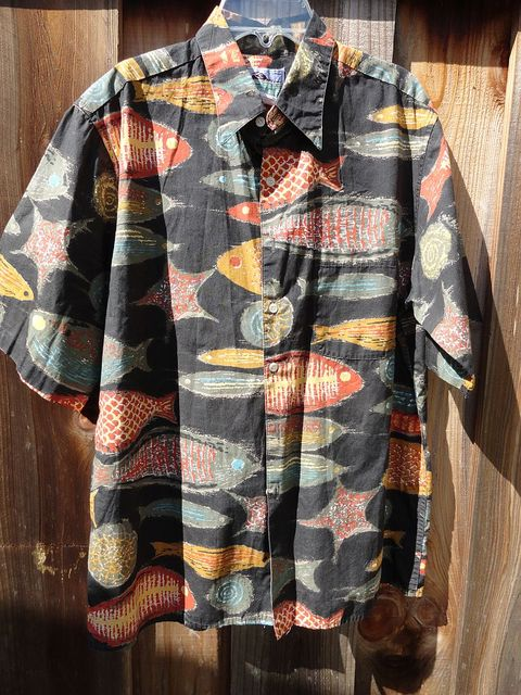 Vintage 80s 90s Reyn Spooner Fish Print Cotton Shirt