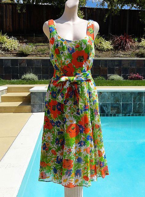 Vintage 60s LANZ ORIGINAL Floral Summer Sun Dress