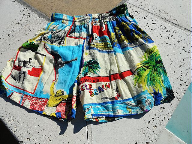 Vintage Jams World Surf Line Hawaii Muscle Beach Rayon Shorts